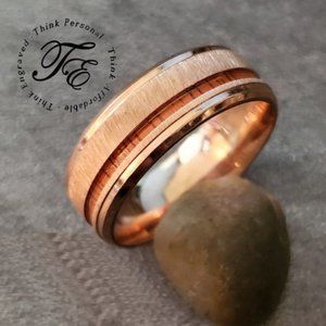 Mens Rose Gold Wood Inlay Wedding - Promise Ring